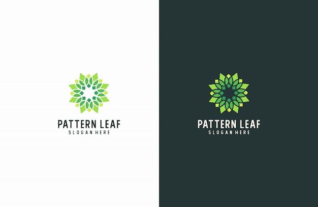 Logo motif feuille verte
