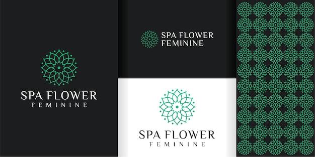 Logo et motif de fleur féminine