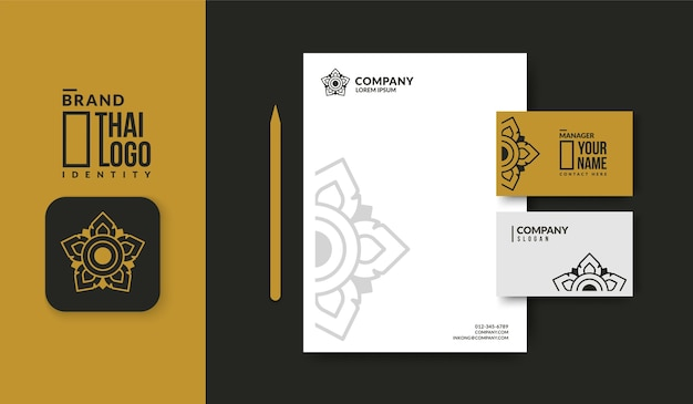 Logo de motif thaï minimal avec modèle de carte de visite de luxe