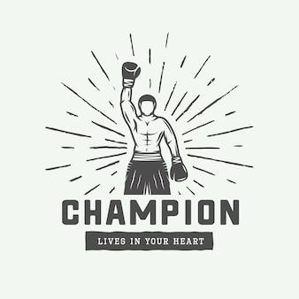 Logo de motivation rétro vintage