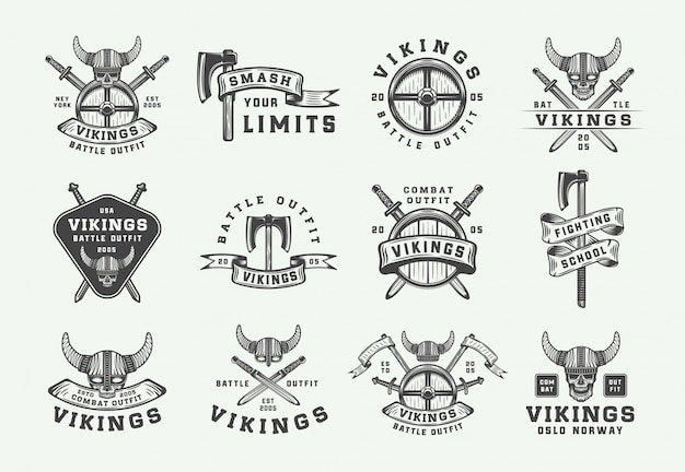 Logo de motivation vintage vikings