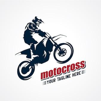 Logo de motocross extrême vecteur de vecteur premium