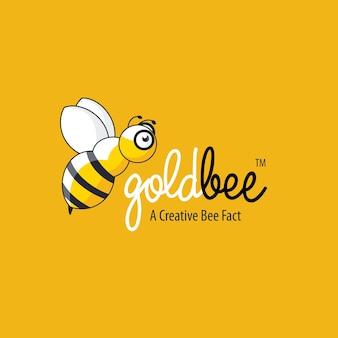 Logo de mouche d'abeille d'or