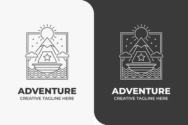 Logo mountain sun adventure monoline