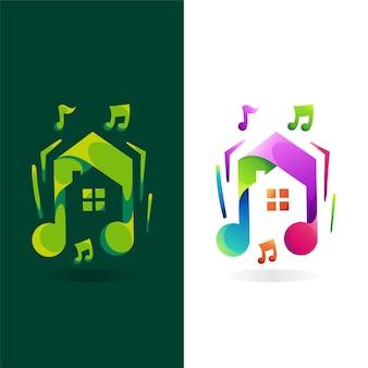 Logo de musique avec concept de maison