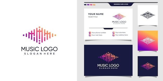 Logo de musique avec la lettre initiale m et la carte de visite