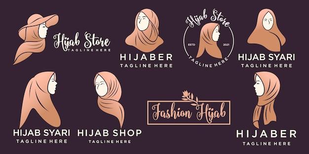 Logo muslimah pour produit de mode hijab ou foulard avec modèle de conception de logo couleur or