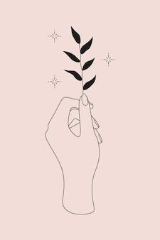 Logo mystique avec symbole magique de main, plante et étoiles. illustration pour tatouage temporaire