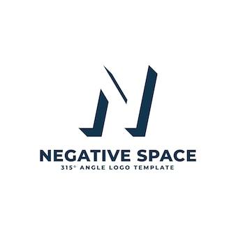 Logo n espace négatif moderne propre lettre géométrique illustration vectorielle