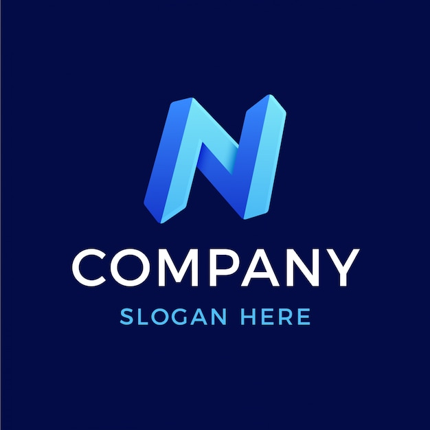 Logo n de lettre en dégradé 3d moderne