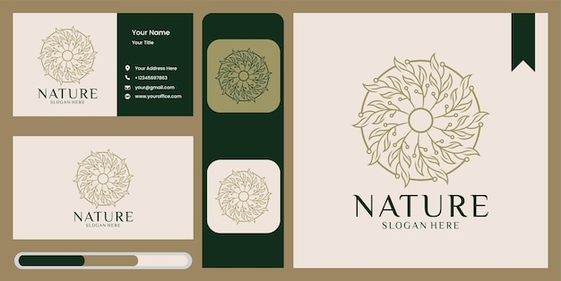 Logo naturel d'ornement de feuille de nature simple et carte de visite