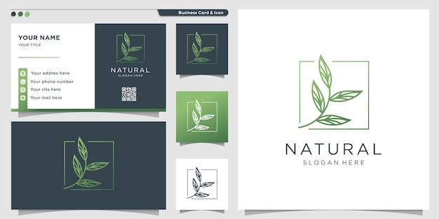 Logo naturel avec style d'art de ligne de feuille unique