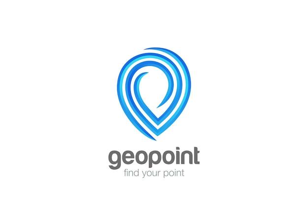 Logo de navigation de localisation géographique de point de carte.