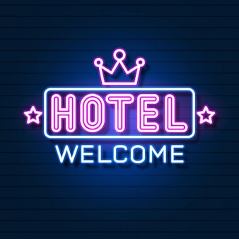 Logo néon réaliste de l'hôtel neon.