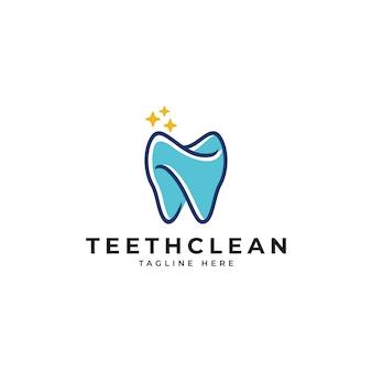 Logo de nettoyage dentaire de contour et de couleur des dents de remplissage