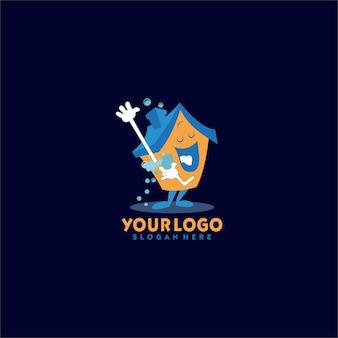 Logo de nettoyage à domicile, logo d'entretien à domicile, logo d'entretien, logo de nettoyage de maison, logo à la maison