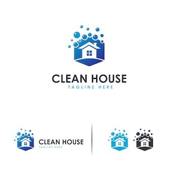 Logo de nettoyage de maison, modèle de logo de nettoyage