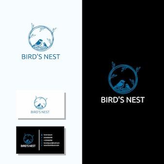 Logo nid d'oiseau minimaliste