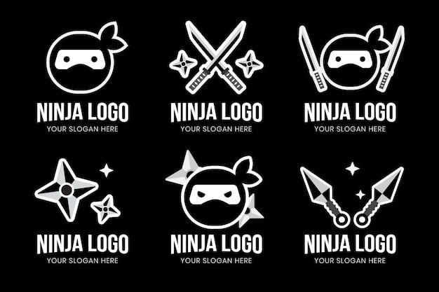 Logo ninja au design plat