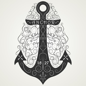 Logo noir dessiné à la main d'ancre vintage