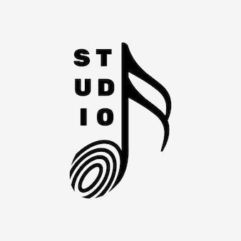 Logo de note de musique semi-croche à plat avec texte modifiable en noir et blanc