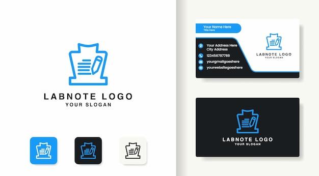 Le logo de notes de verre de laboratoire utilise une ligne mono et une carte de visite