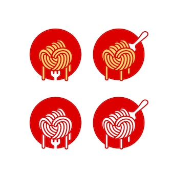 Logo de nouilles ramen spaghetti pâtes