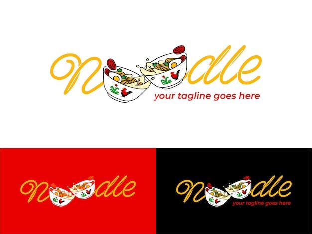 Logo de nouilles avec restaurant japonais ramen template