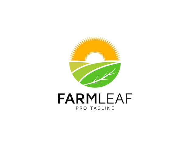 Logo de nourriture de ferme avec illustration de feuille et de soleil