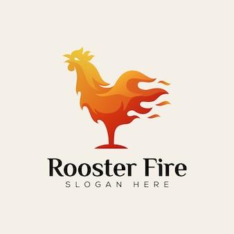 Logo de nourriture de feu de coq, modèle de conception de logo de nourriture chaude de poulet