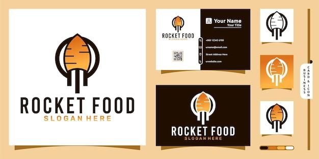 Logo de nourriture de fusée avec le concept moderne de fusée végétale et la conception de carte de visite