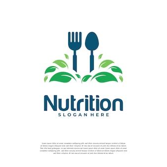 Le logo de nourriture de nature saine conçoit le vecteur de concept, symbole de nourriture végétarienne logo créatif