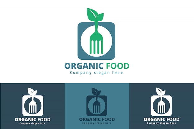 Logo de nourriture de restaurant biologique