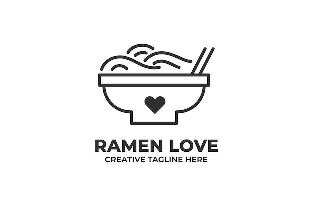 Logo de nourriture de restaurant japonais amour ramen