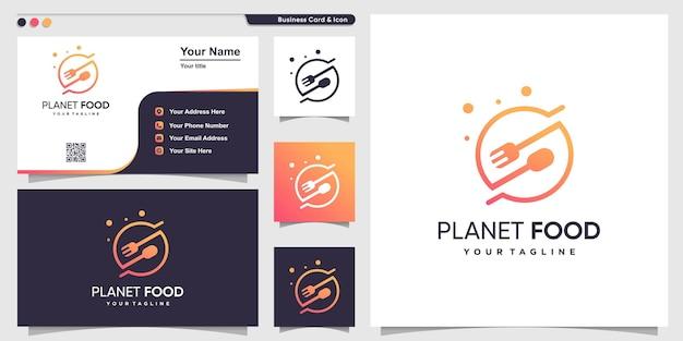Logo de la nourriture avec style de planète d'art en ligne et modèle de conception de carte de visite vecteur premium