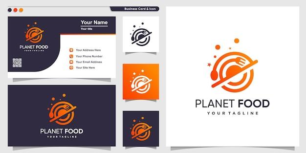 Logo de la nourriture avec style de planète dégradé de contour et modèle de conception de carte de visite vecteur premium