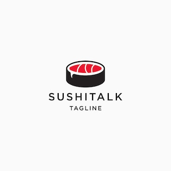 Logo de nourriture sushi et modèle de conception d'icône de chat