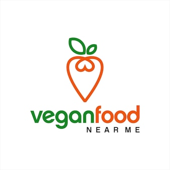 Logo de la nourriture végétalienne dessin au trait simple carotte