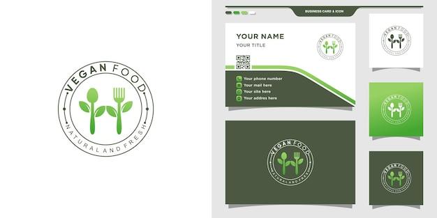 Logo de nourriture végétalienne pour restaurant