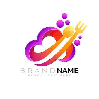 Logo de nuage avec design de restaurant 3d coloré