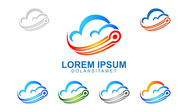 Logo de nuage avec l'électricité a représenté des données ou internet