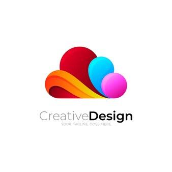 Logo de nuage avec illustration de conception colorée