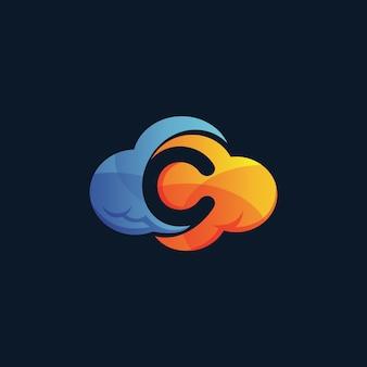 Logo de nuage lettre c