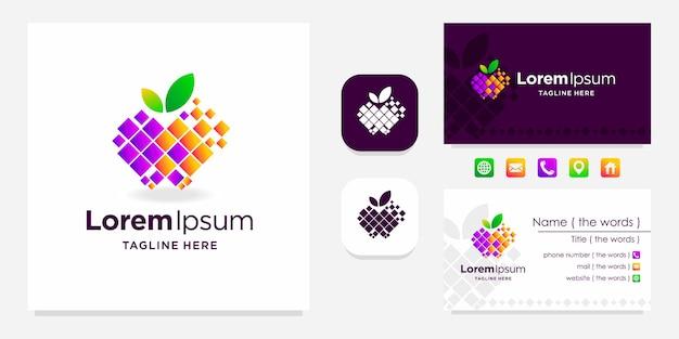 Logo numérique apple avec conception de carte de visite
