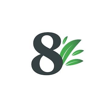 Logo numéro huit avec des feuilles vertes. logo naturel numéro 8 avec feuille verte.