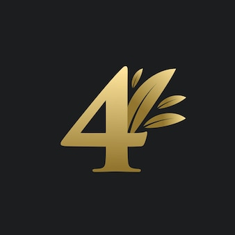 Logo numéro quatre d'or avec des feuilles d'or. logo naturel numéro 4 avec feuille d'or.