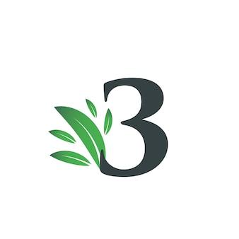 Logo numéro trois avec des feuilles vertes. logo naturel numéro 3 avec feuille verte.