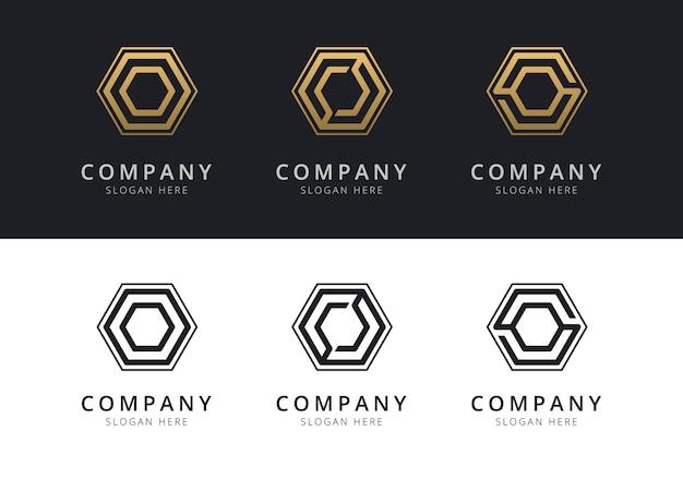 Logo o initial à l'intérieur de la forme hexagonale de couleur or et noir