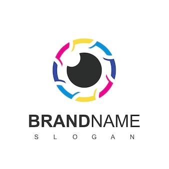 Logo de l'objectif de l'appareil photo symbole de la photographie