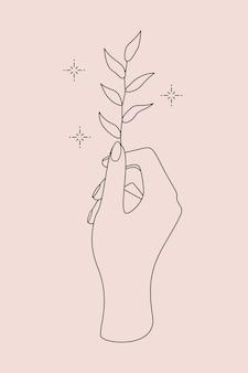 Logo occulte mystique avec symbole magique de la main, de la plante et des étoiles. illustration tatouage temporaire